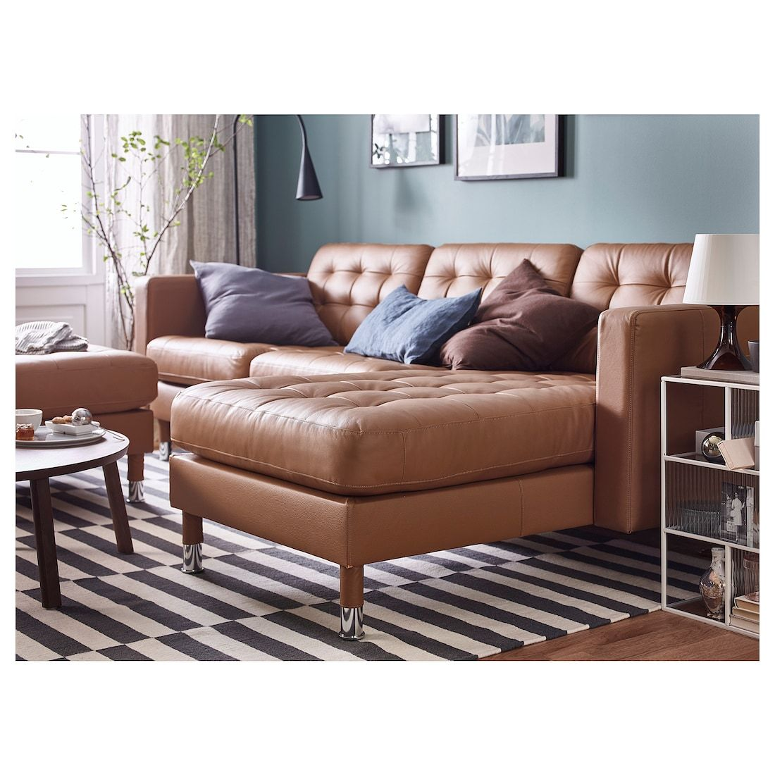 Landskrona Sofa With Chaise Grann Bomstad Golden Brown Metal Landskrona Sofa Brown Living Room Decor Brown Living Room