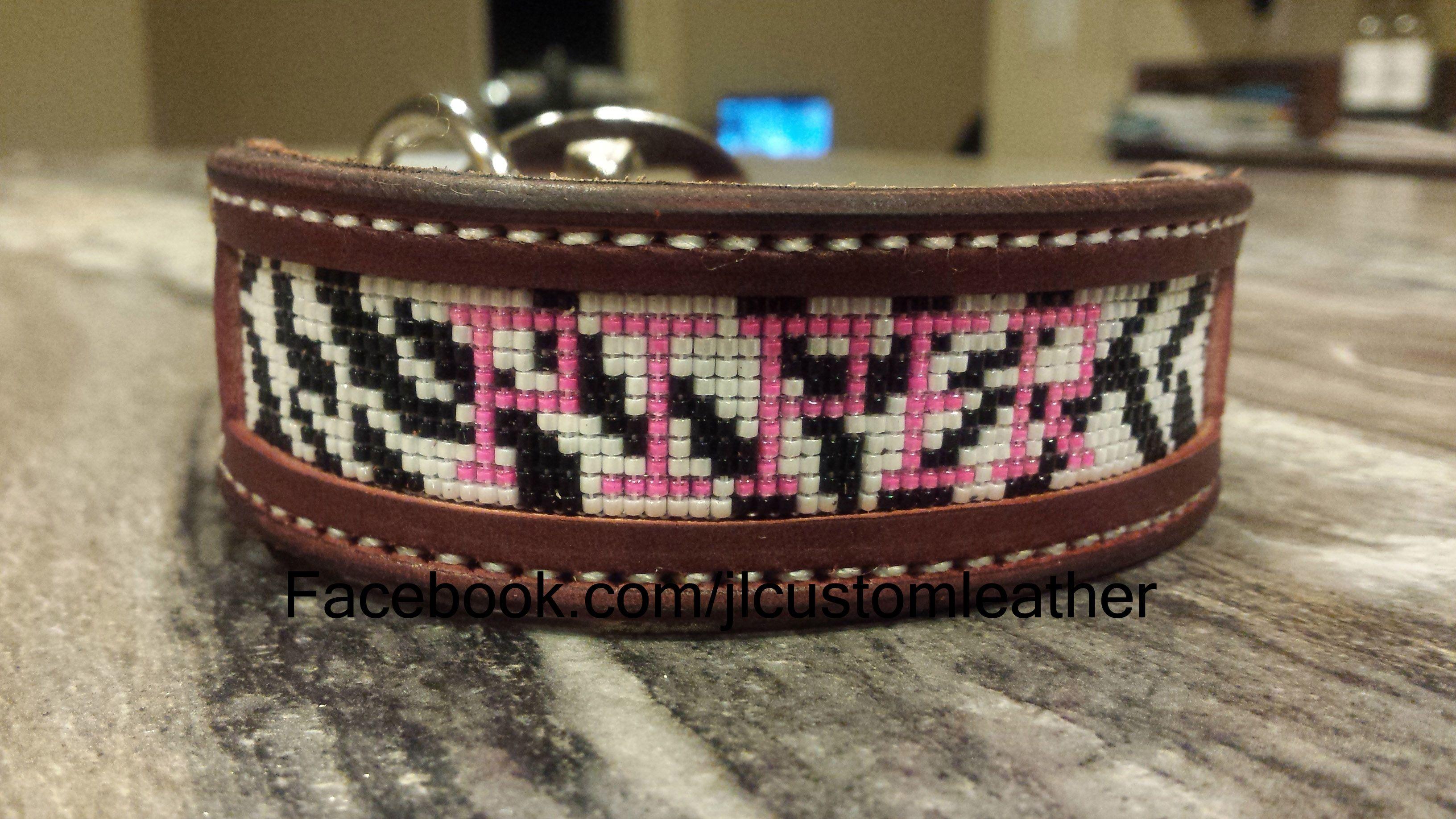 Custom Beaded dog collars $65  Facebook.com/jlcustomleather