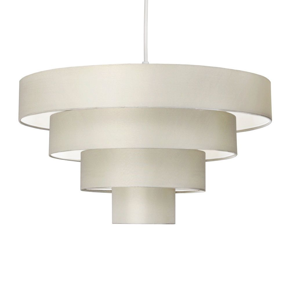Modern cream fabric easy fit 4 tier lampshade ceiling light modern cream fabric easy fit 4 tier lampshade ceiling light pendant lamp shade aloadofball Choice Image