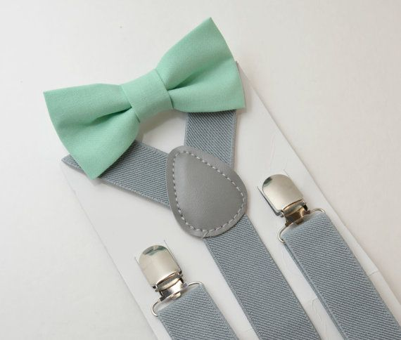 ADULT sizes Kids Boys Baby Mens Gray Suspenders /& Mint Bow tie Infant