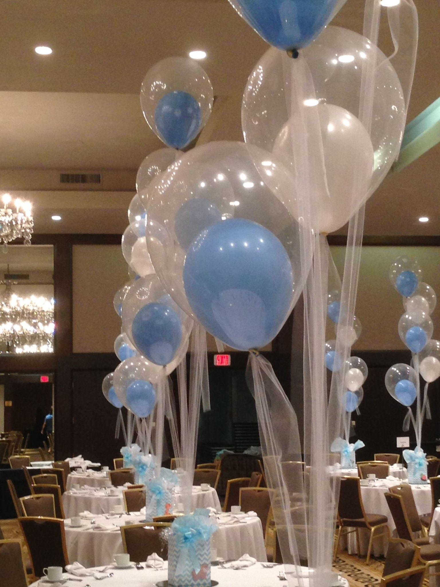 Baby Shower Balloons Tied Down With Tulle Www Idealpartydecorators