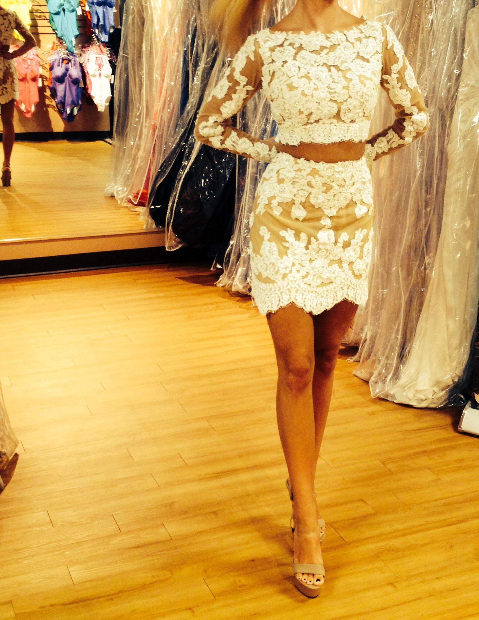 Short homecoming dress // Sherri Hill // two piece with white lace ...