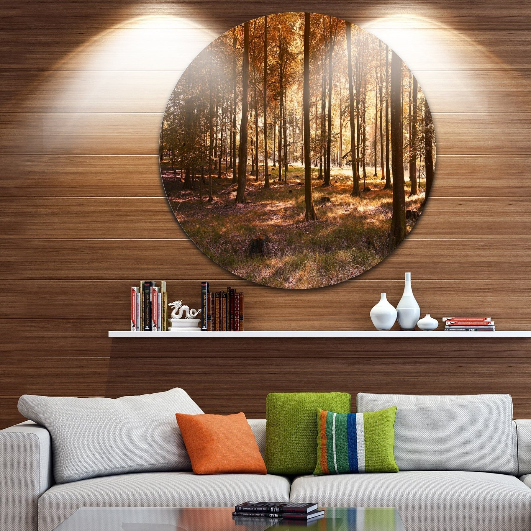 Designart uthick fall forest with leavesu landscape photo round