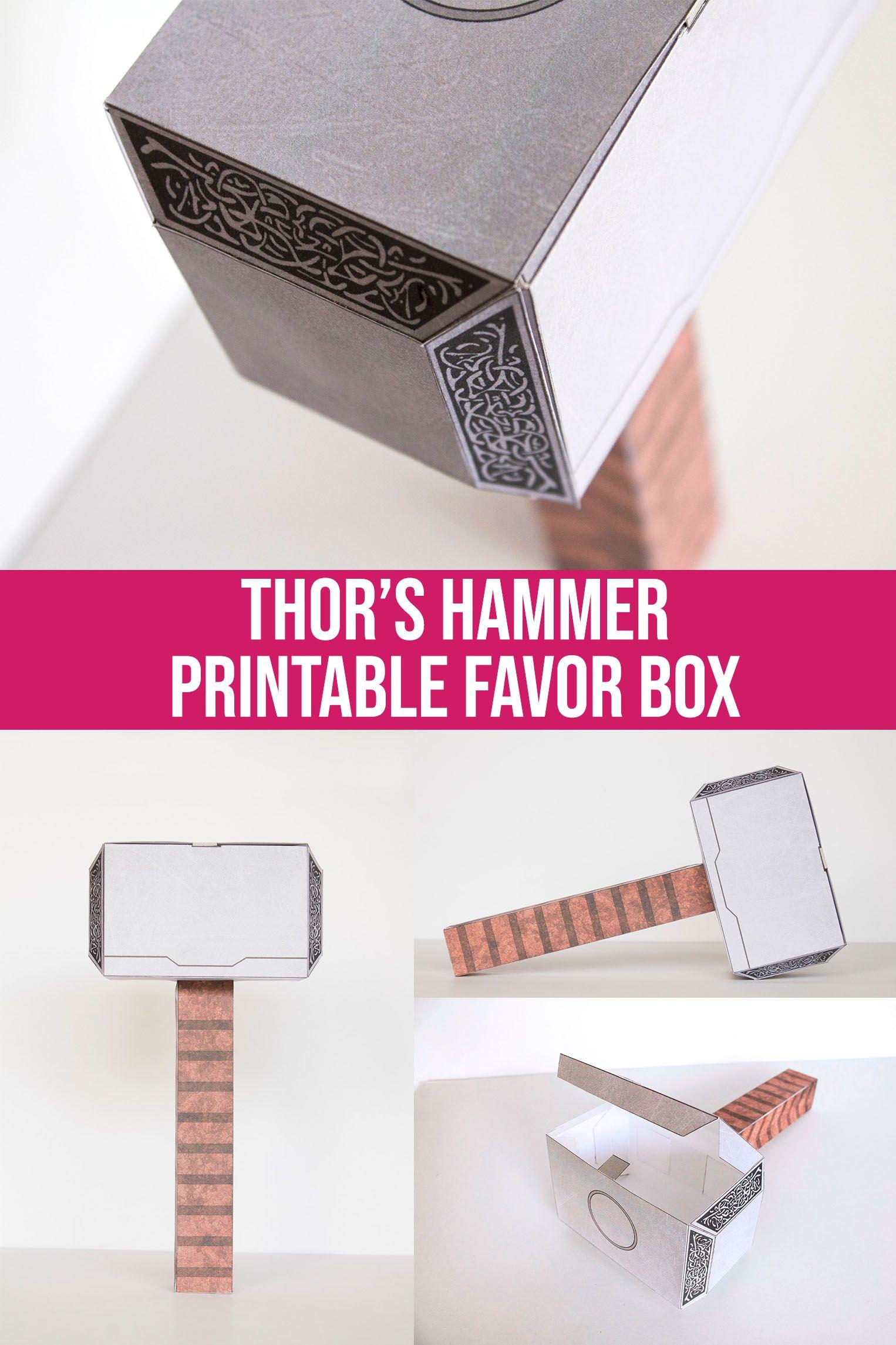 printable mjolnir thor hammer favor box gift box vikings etsy in 2020 thors hammer thor birthday party avengers birthday printable mjolnir thor hammer favor box