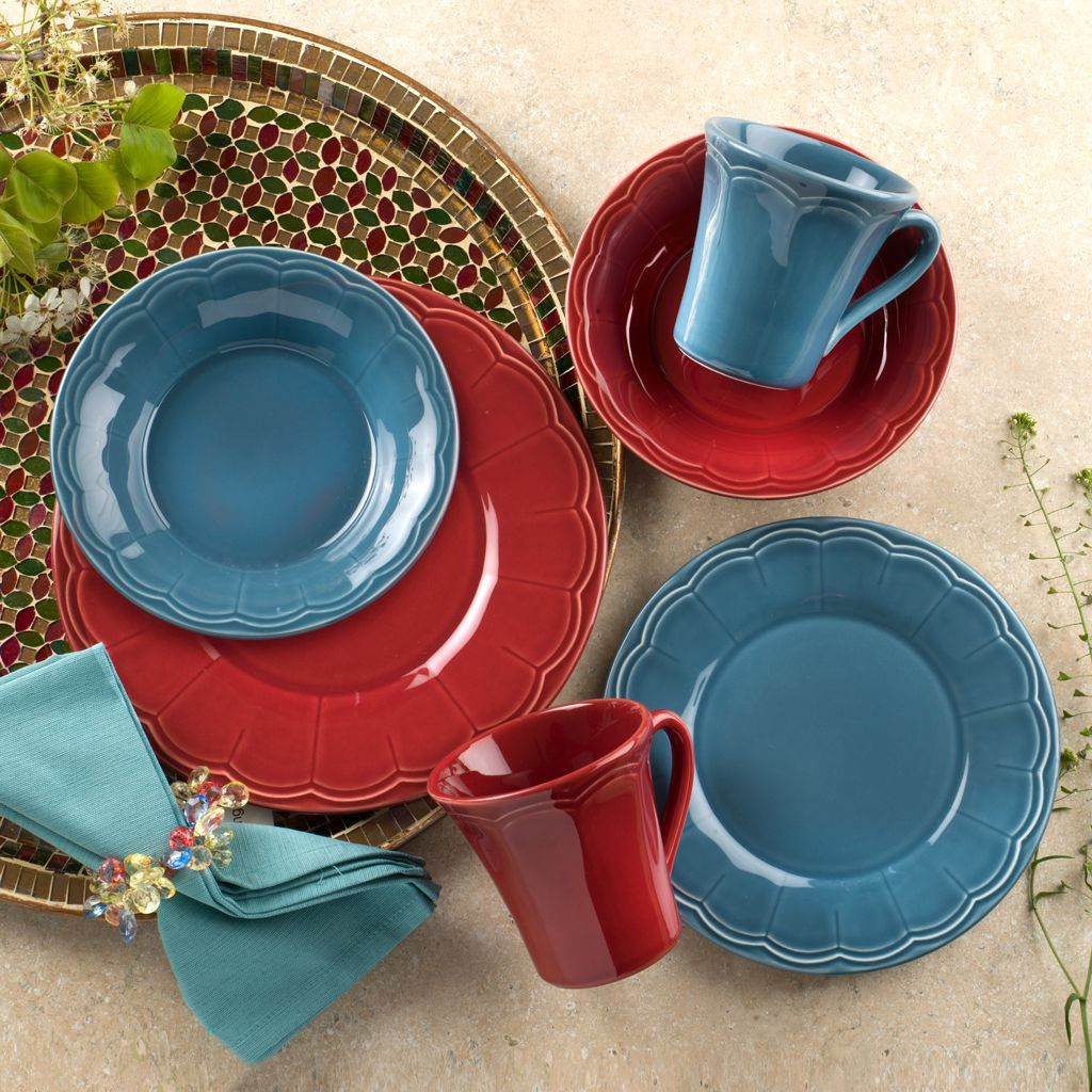 Naperon Collection Mix & Match with Red and Blue Red