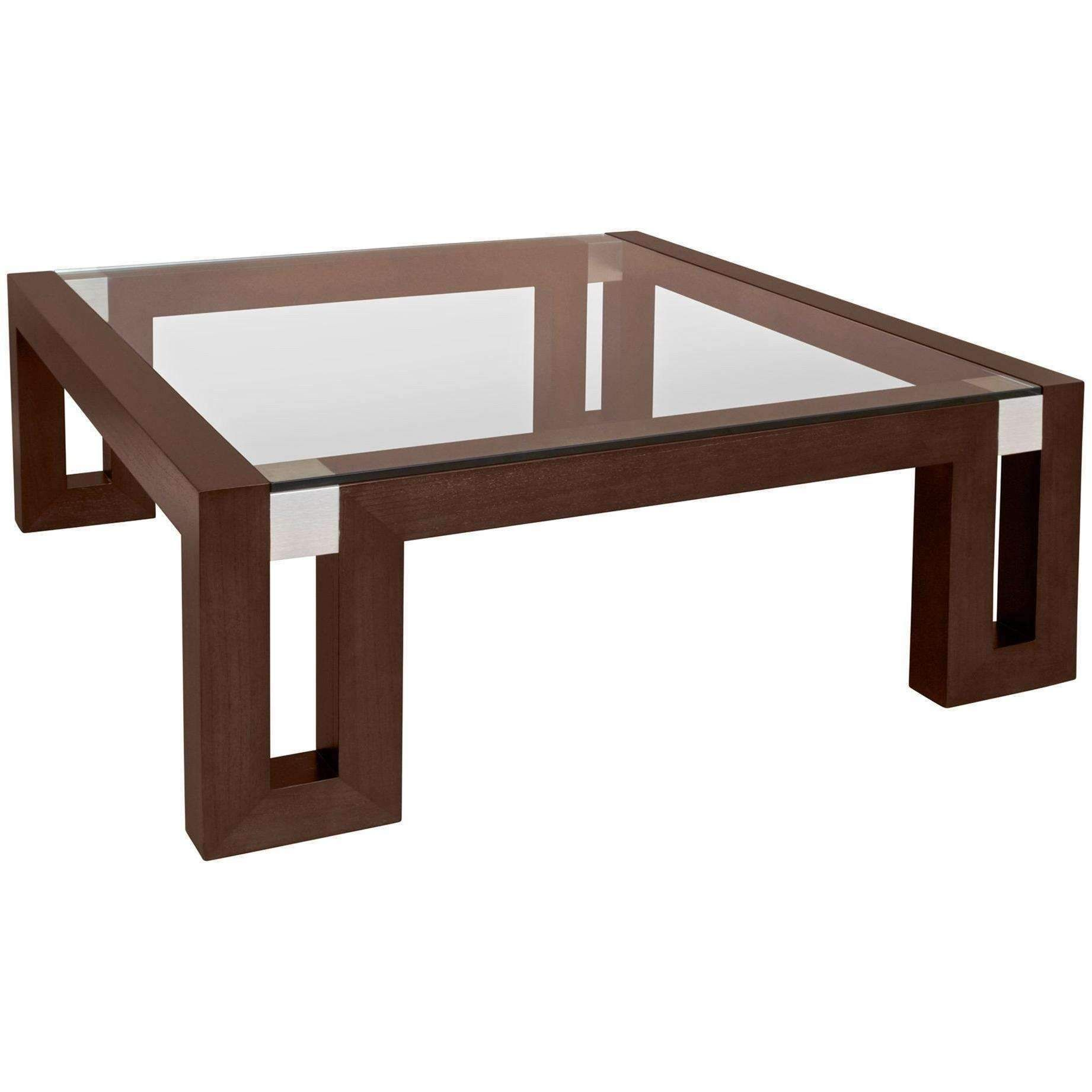 Calligraphy Square Glass Top Cocktail Table in Espresso Finish with