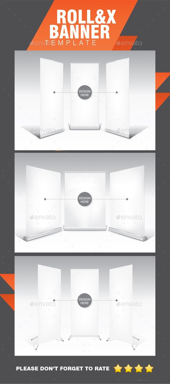 Roll-up and X-Banner White Template | Banners, Font logo and Adobe ...