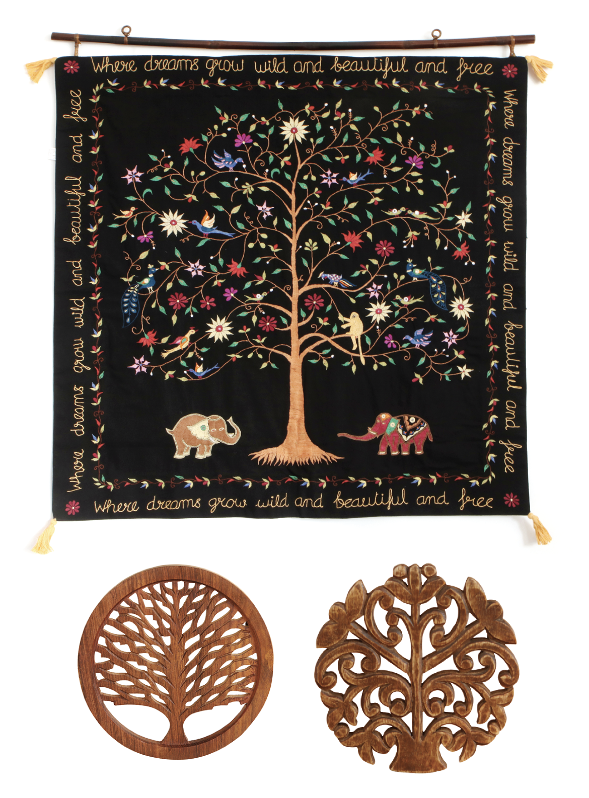 Hand Embroidered Tree Of Life Wall Hanging Fair Trade
