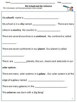 Our Universe , Galaxies, Solar System & Planets - Worksheets ...