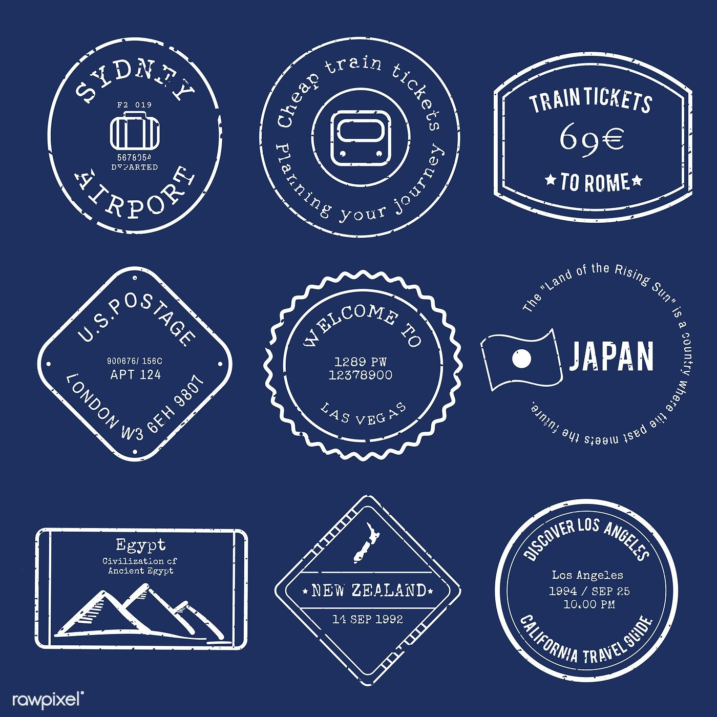 Vector Of Various Stamp Design Free Image By Rawpixel Com ม ร ปภาพ