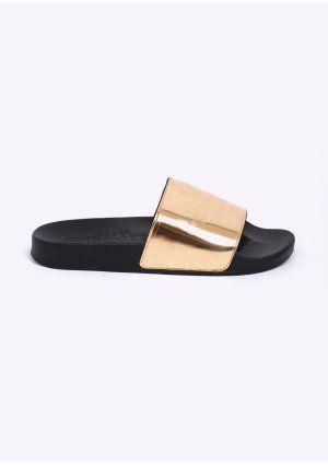 ffcfdcaa5e89 Adidas Originals x Jeremy Scott Adilette Plaque - Black   Gold ...