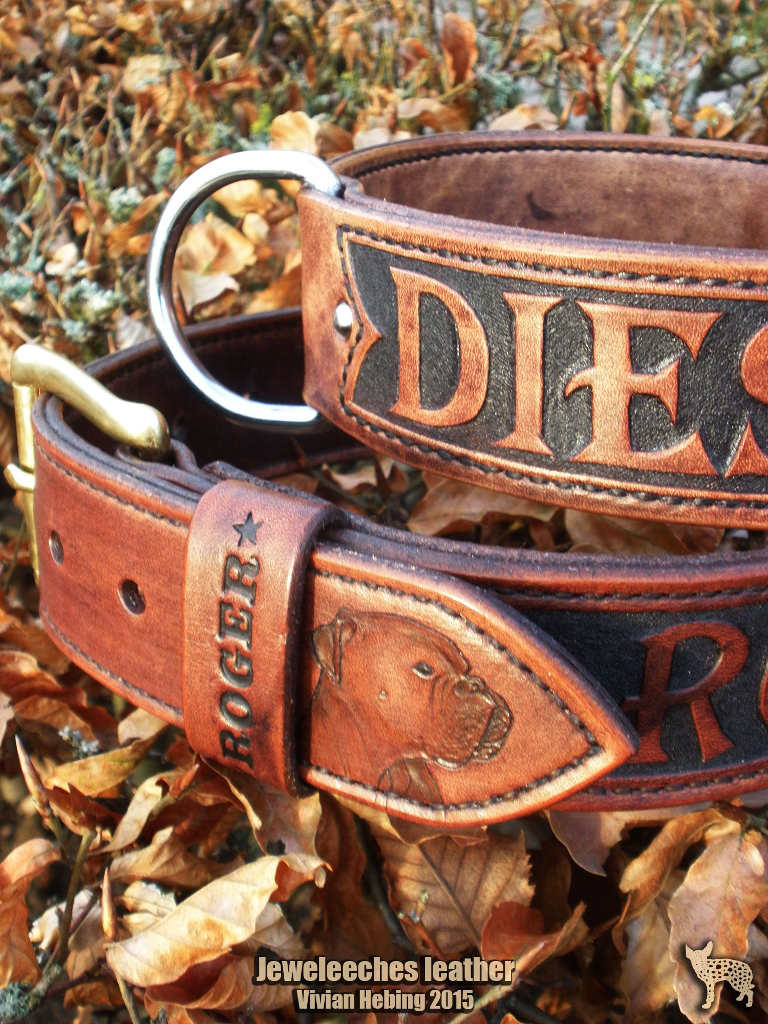 Handmade Dog Collars Of Natural Tanned Leather By Jeweleeches