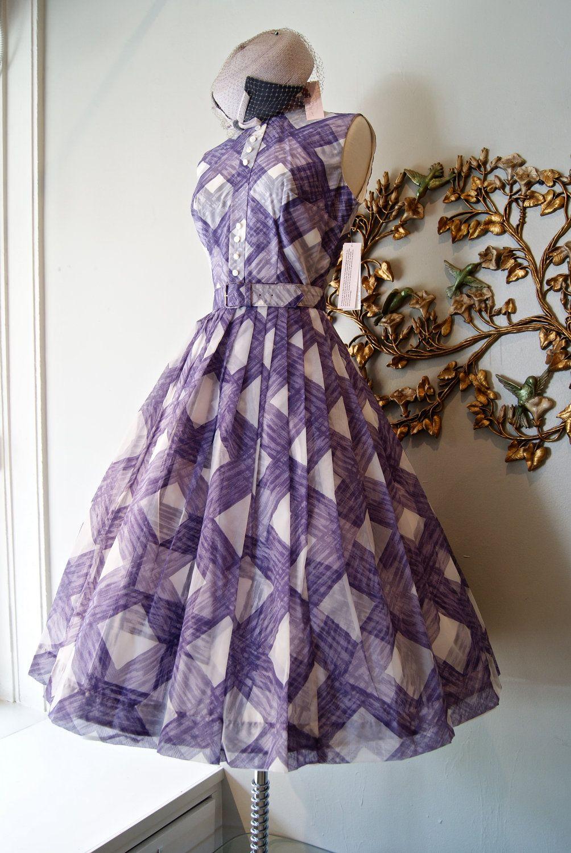 Vintage 1950s Purple Plaid Chiffon Cocktail Dress by Ann Marsh New ...