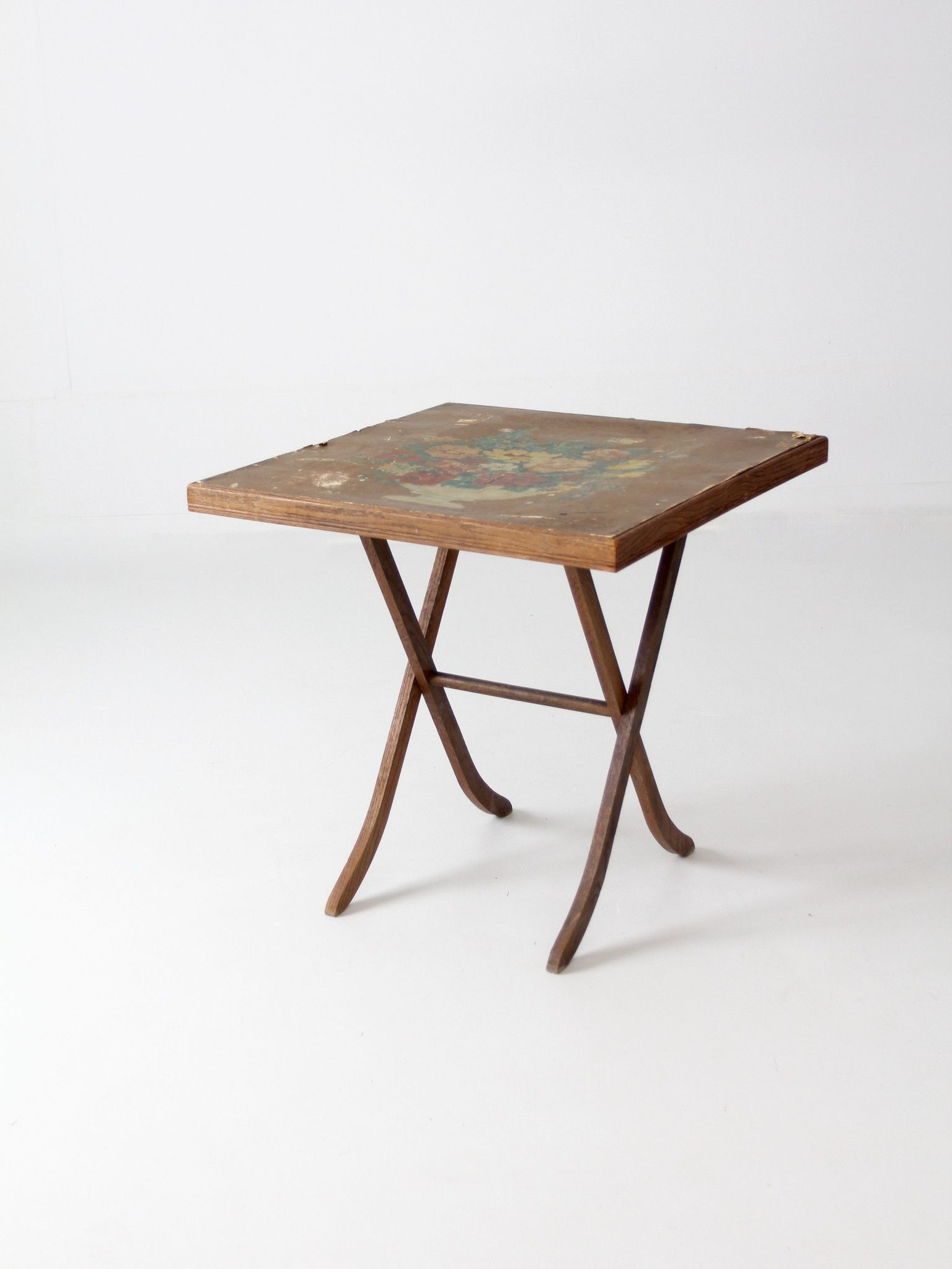 Vintage Wood Folding Table With Floral Top Wood Folding Table