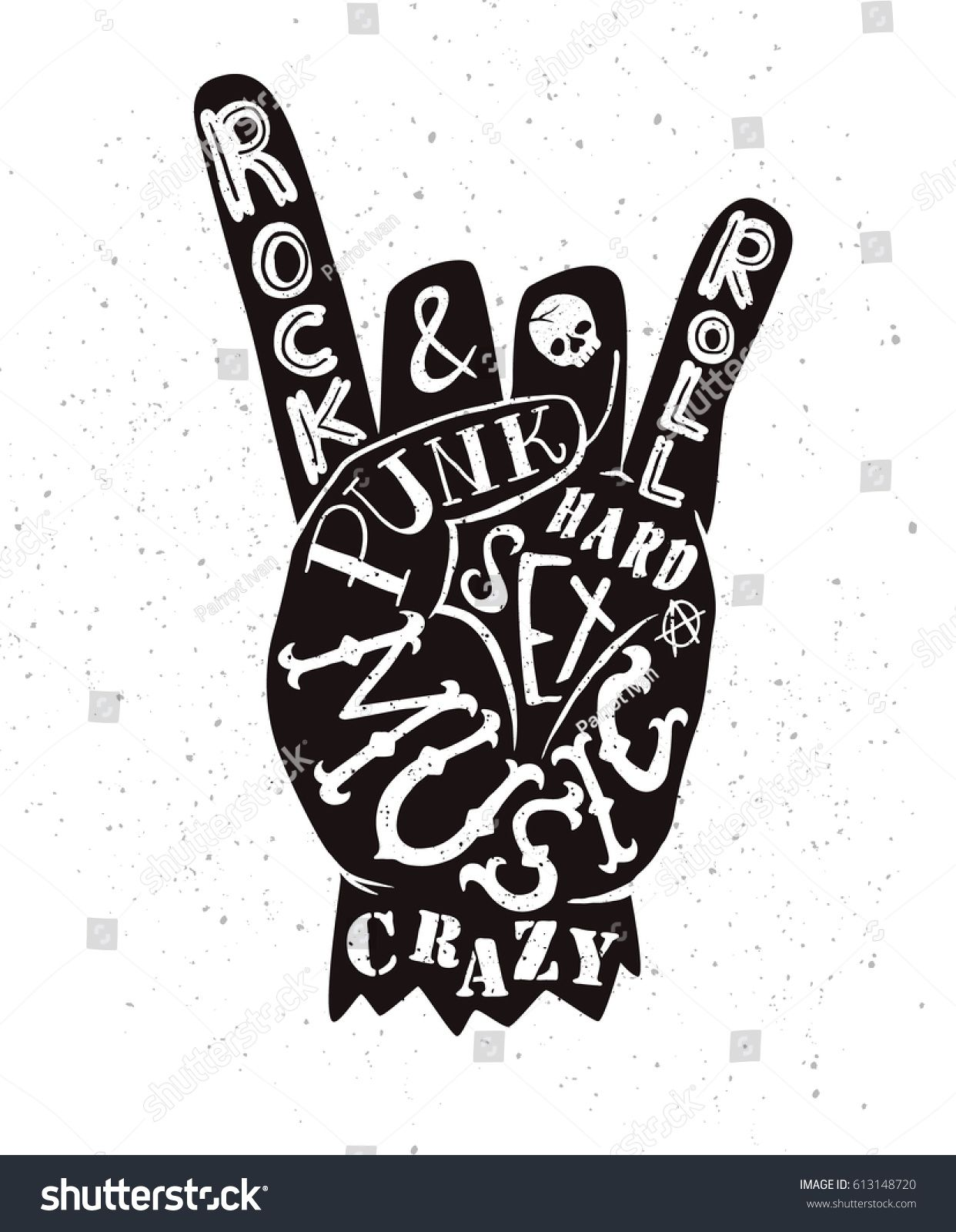 Vector lettering illustration rock and roll sign punk music vector lettering illustration rock and roll sign punk music crazy sex buycottarizona Gallery