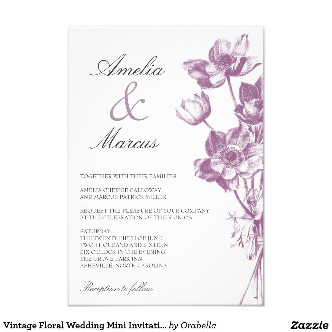 Vintage floral wedding mini invitation white floral wedding vintage floral wedding mini invitation white stopboris Gallery