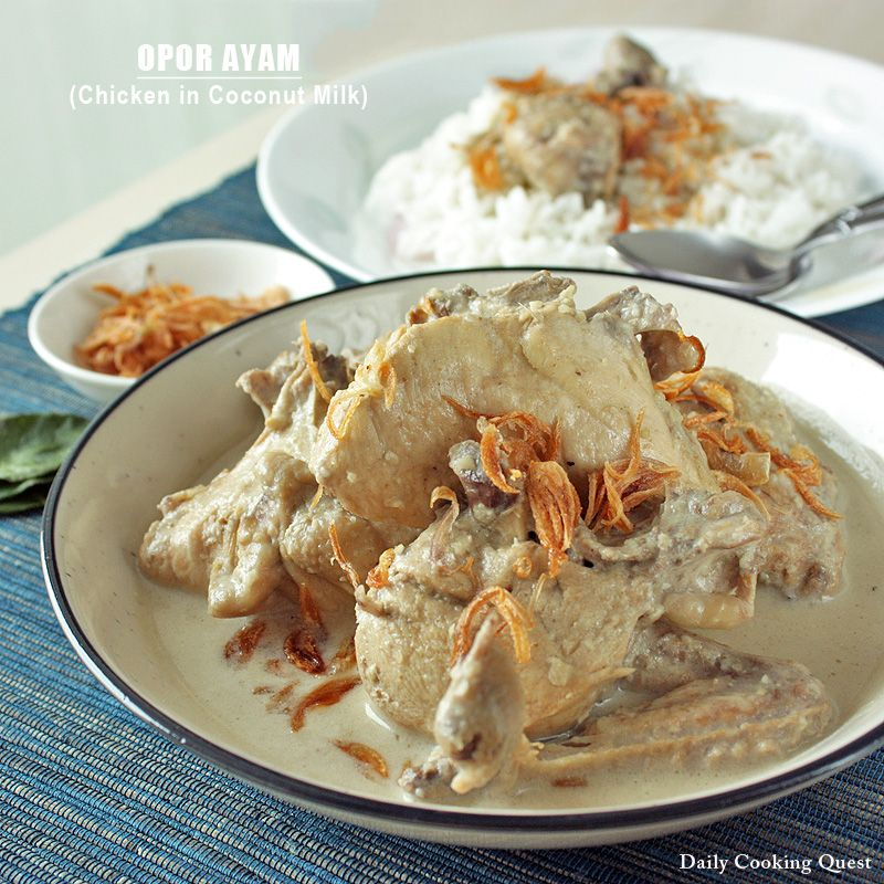 Originated from Central Java, opor ayam (chicken cooked in coconut milk) is especially popular during lebaran (Idul Fitri) where it is typically served with ketupat (boiled rice cake wrapped in woven palm leaf pouch) or lontong (boiled rice cake in the shape of a cylinder wrapped in banana leaf). Opor …