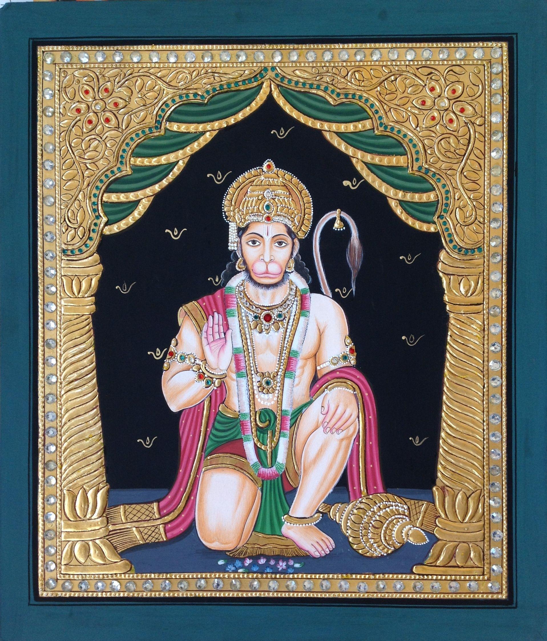 Tanjore Hanuman Painting Handmade Indian Thanjavur Hindu Deity