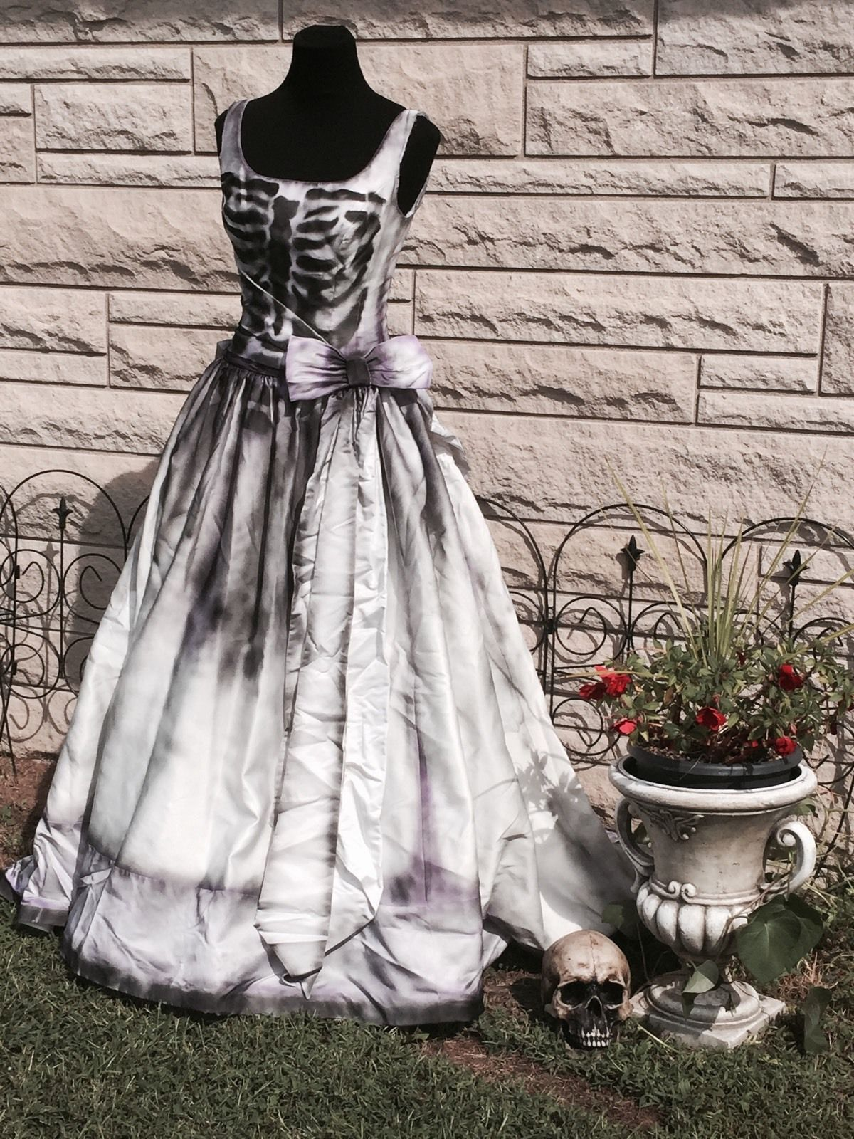 Zombie Skeleton Wedding Dress Costume Corpse Bride Sugar Skull Medium
