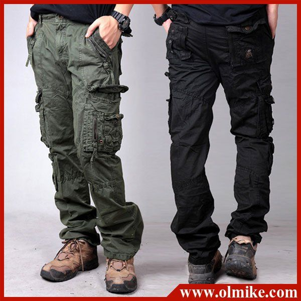 New arrival mens cargo pants classic straight leg zipper fiy ...
