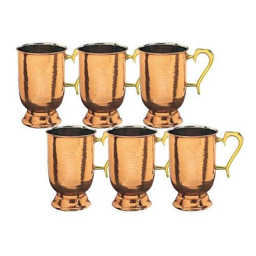 Solid Hammered Copper Brass Handled Tankards Set Of 6 Gold