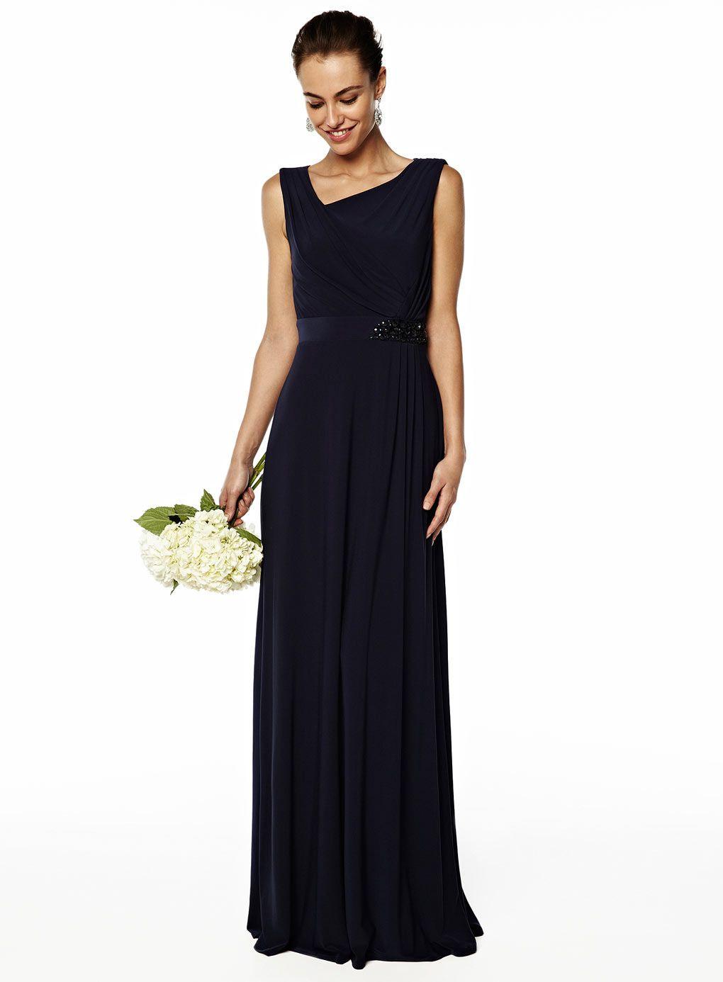 Evie navy long dress bridesmaids and flower girls pinterest