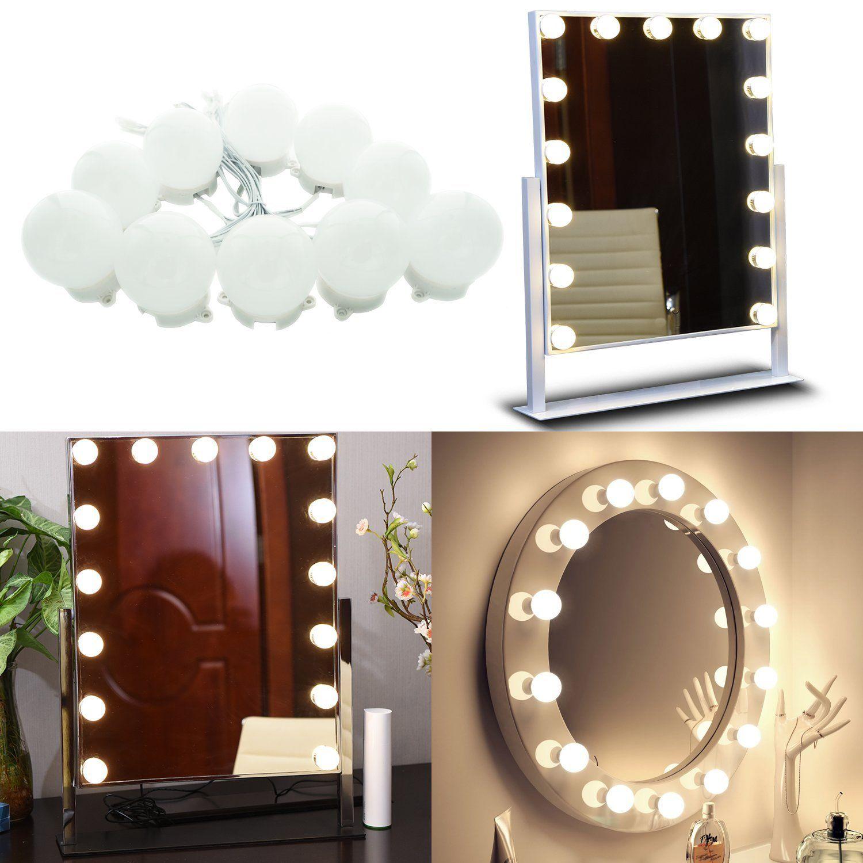Amazon Com Aiboo Hollywood Super Star Style Makeup Mirror Vanity Led Light Bulbs Kit For Dressing Diy Vanity Mirror Vanity Light Bulbs Mirror With Led Lights