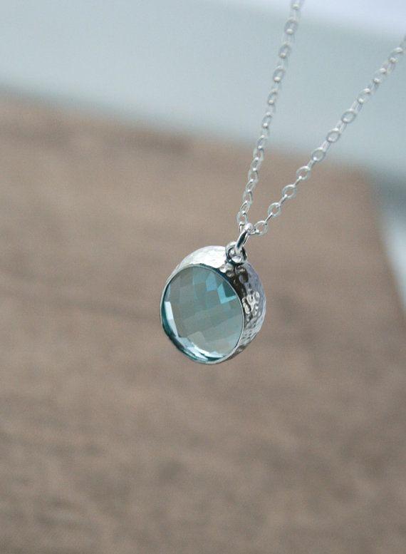 f5bf1657e Aquamarine Necklace,Dainty Silver Necklace,Delicate Necklace,Everyday  Necklace,Layering Necklace,Simple Necklace,Oval Necklace,Long