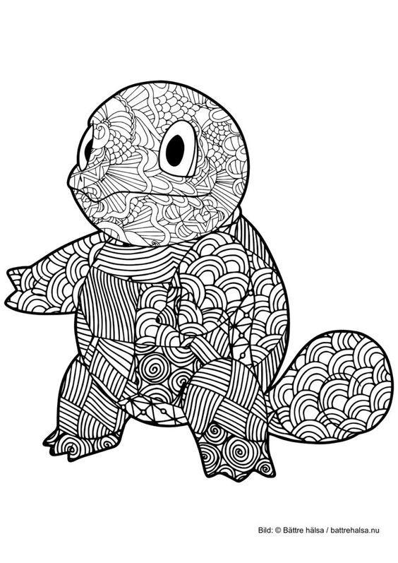Målarbild för vuxna – färglägg Pokémon! Squirtle | Målarbilder ...