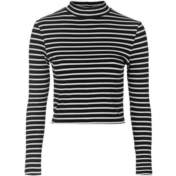 TOPSHOP Stripe Funnel Neck Top (110 BRL) ❤ liked on Polyvore featuring tops, crop tops, shirts, sweaters, cream, stripe crop top, shirts & tops, stretch crop top, striped top and cream shirt