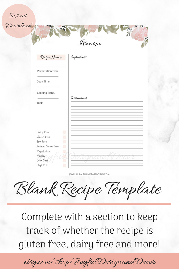 Editable Recipe Page Floral Printable Recipe Card Blank Recipe Templates Recipe Organization Recipe Storage Ideas Full Page Recipe Card Recipe Cards Template Recipe Cards Printable Recipe Cards