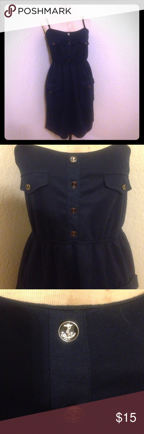 Delia's navy anchor dress So cute! Material 70% polyester 18% rayon 5% spandex bust 32 Waist 28 hips 38 Delia's Dresses