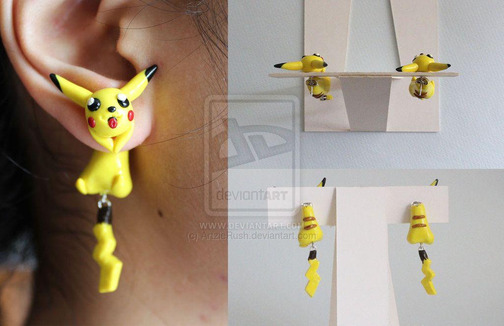 Pikachu Pokemon Polymer Clay Earrings by ArtzieRush