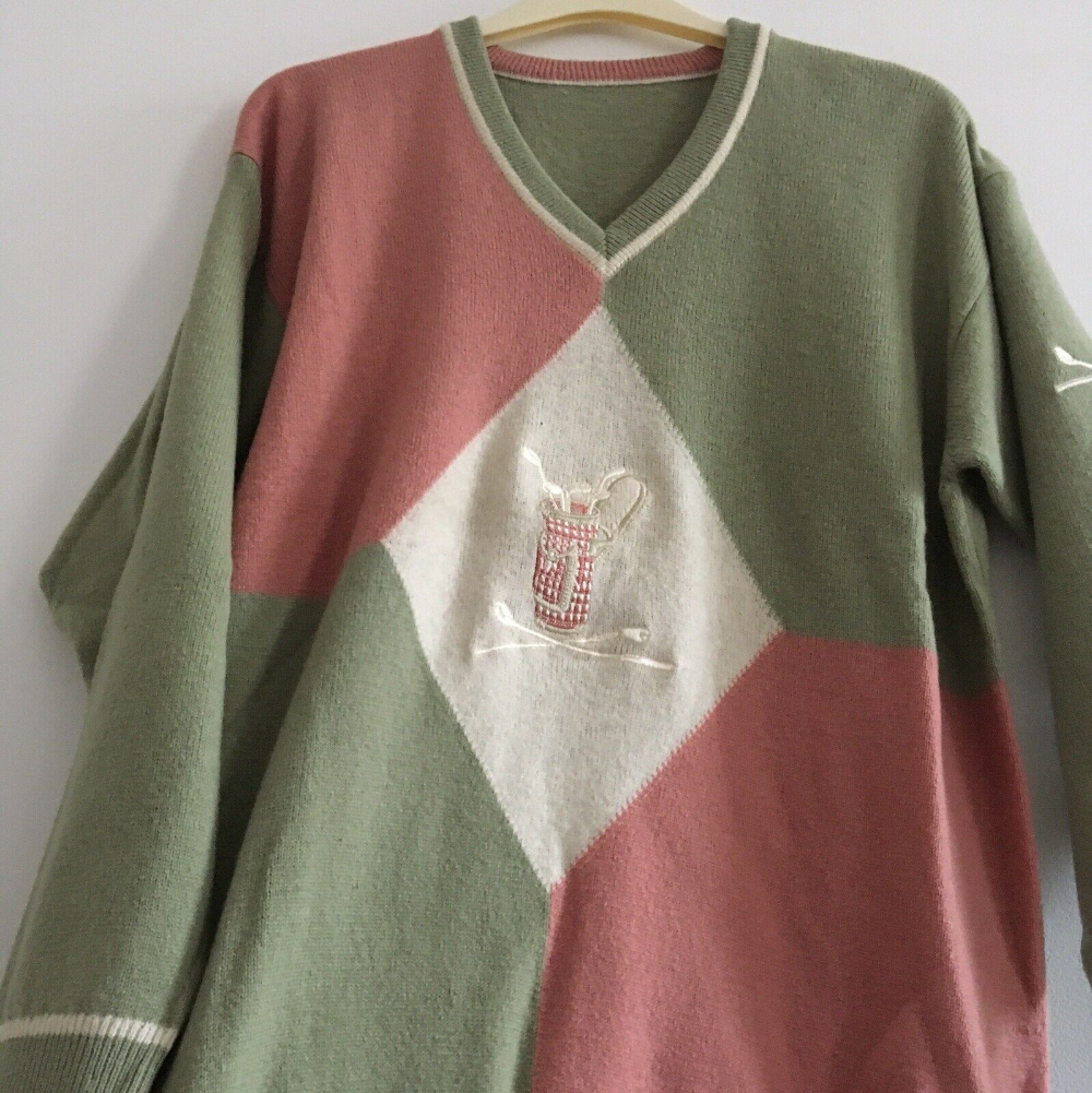True Vintage Pastel Green Pink Unbranded V Neck Golf Sweater Mens Size L In 2020 Golf Sweaters Sweaters Men Sweater