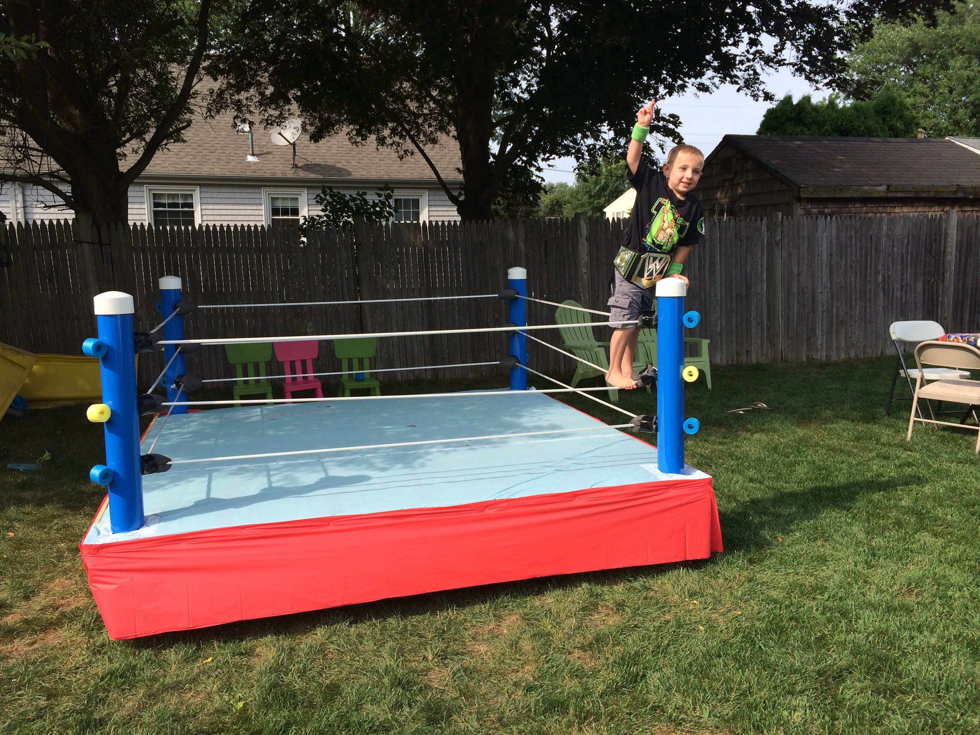 Backyard Wrestling Ring Wrestling Birthday Parties Wwe Party Wwe Birthday Party
