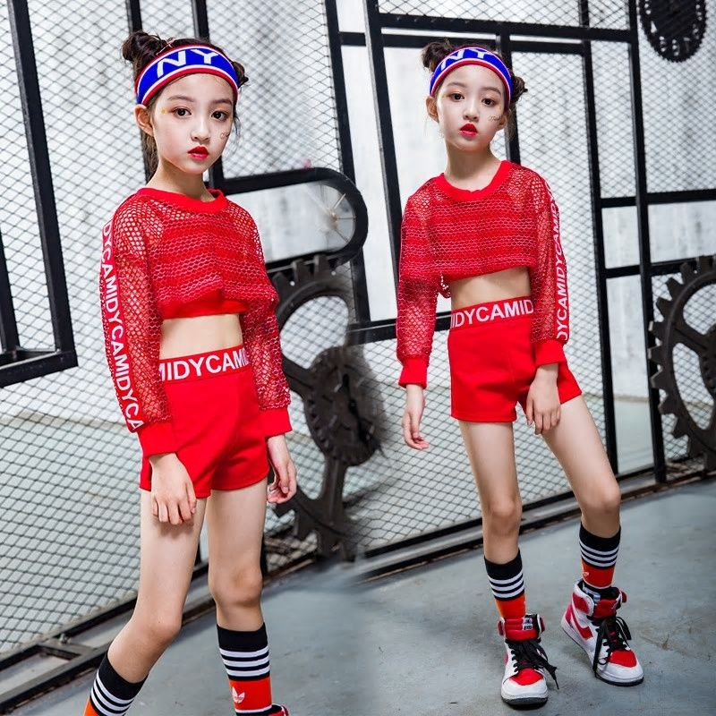 05d50b8e9d8 New Children Jazz Dance Costume Girl Hip Hop Dance Clothing Midriff ...