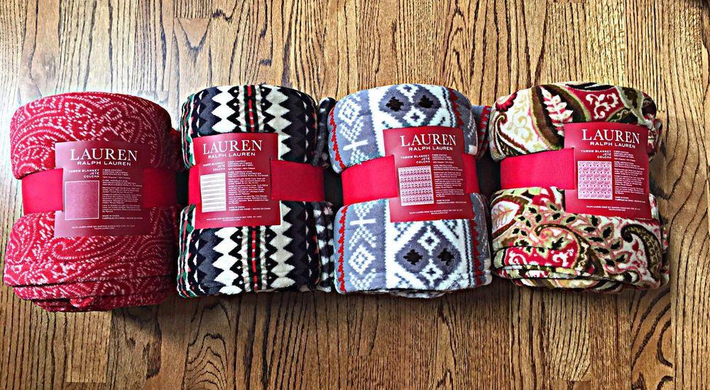Lauren Ralph Lauren PLUSH Fleece Throw Blanket Paisley Brown Aztec Paisley Red #LaurenRalphLauren