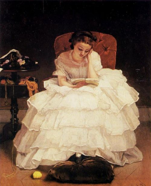 Looks like Scarlett, if she was a reader.Alfred Stevens (1823-1906) - Young Woman Reading, 1856