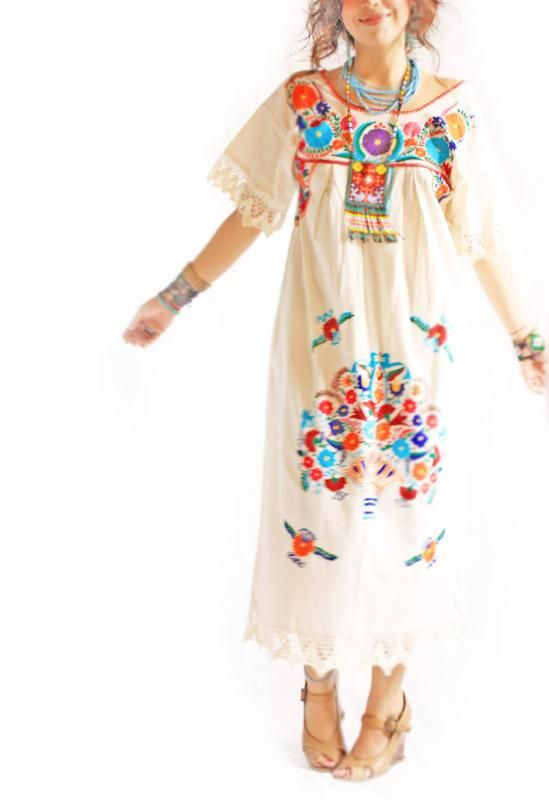 Vintage Romantic crochet lace Mexican wedding & fiesta maxi dress ...