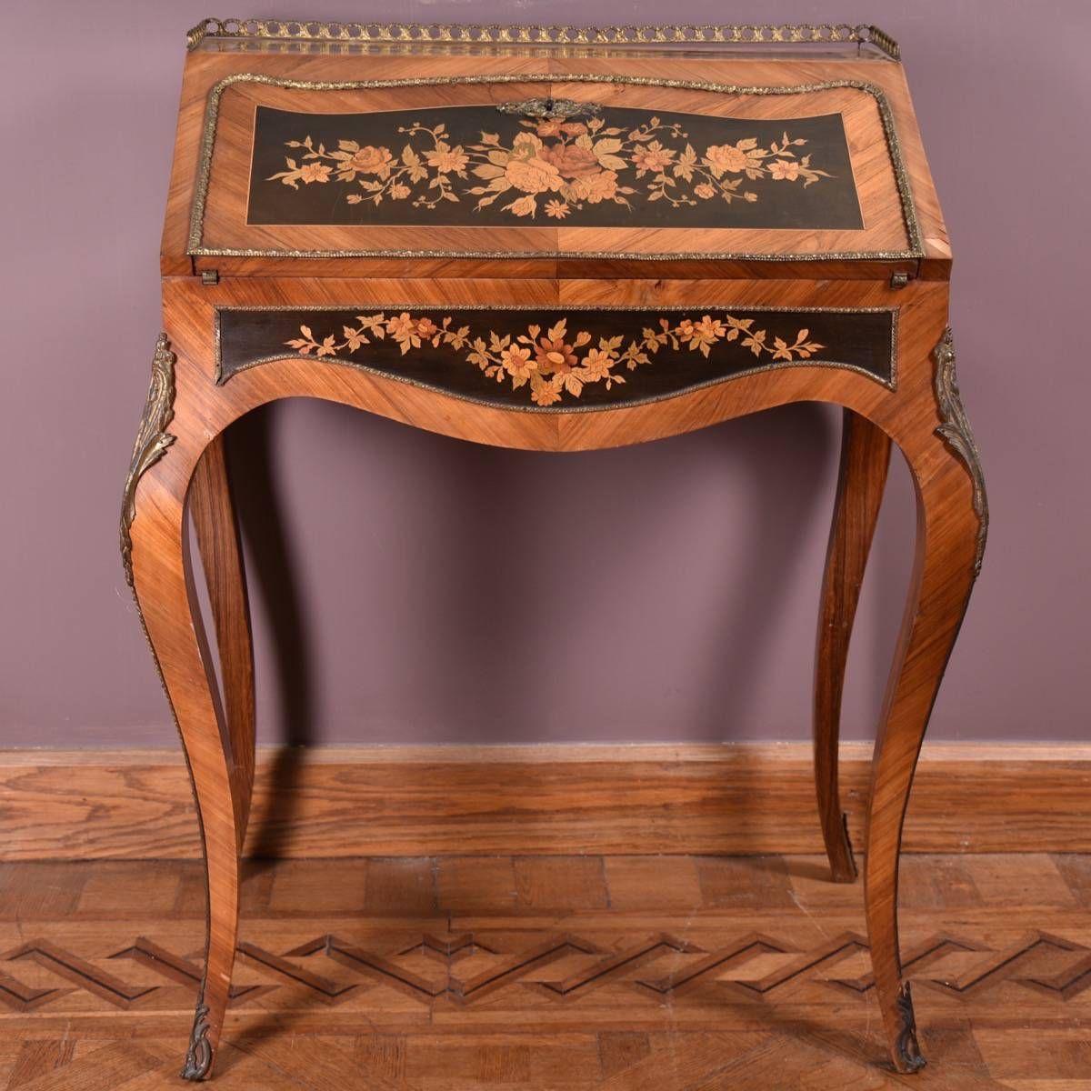 Merveilleux Antique Furniture · French Marquetry Bureau.