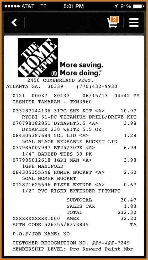 15+ home depot receipt template Application Letter