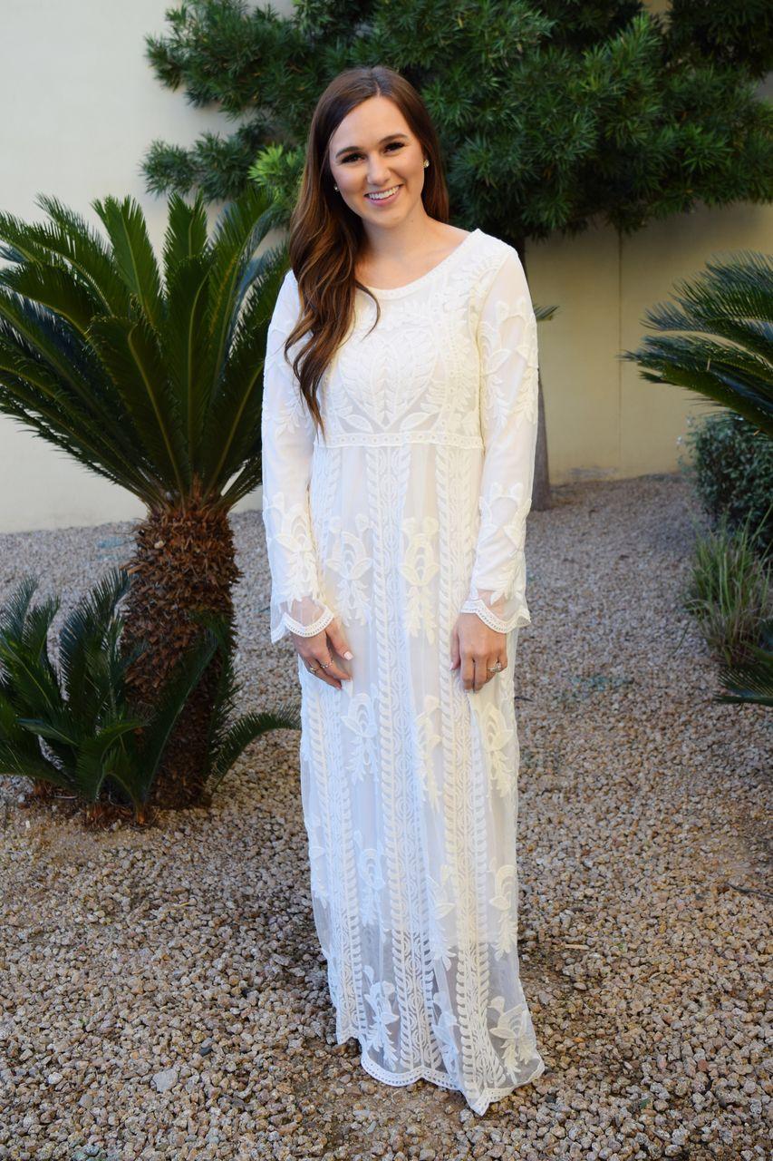2457f8599cb1 Boho White Lace Long Sleeve Temple Dress - A Dressy Occasion ...