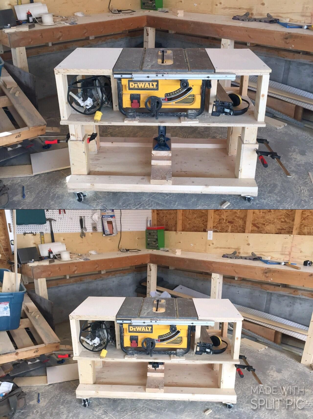 Adjustable Height Table To Be Both The Same Hight Of My Bench And Fit Under It Http Ift Tt 2fji1b4 Woodworking Shop Layout Woodworking Shop Shop Layout