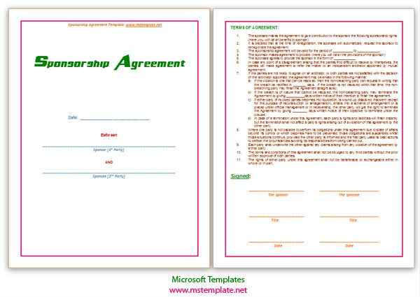 Agreements, Business Agreements, Sponsorship Agreement Template - microsoft word contract template