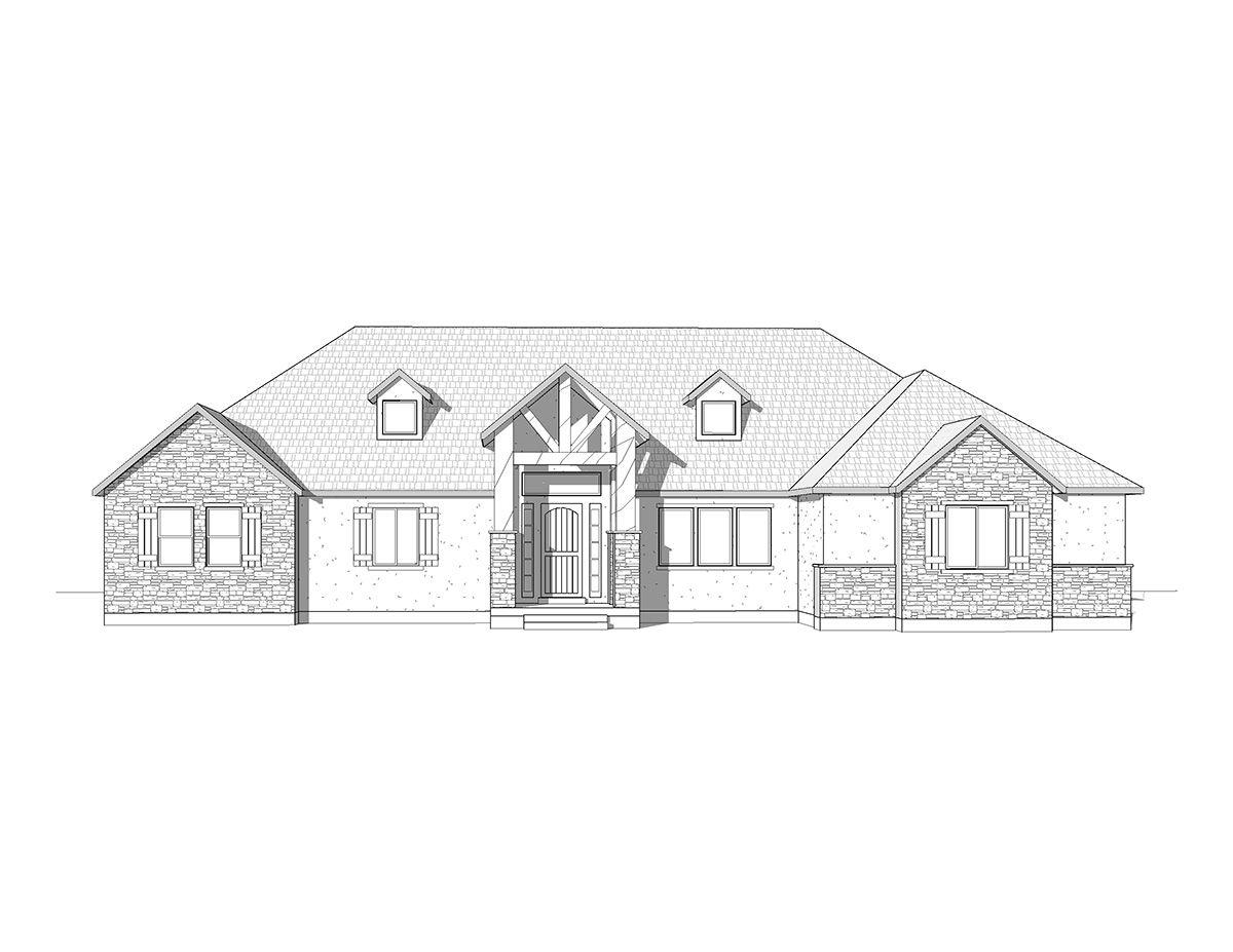 Aspen - A Mountain Rustic style rambler house plan - Walker Home ...