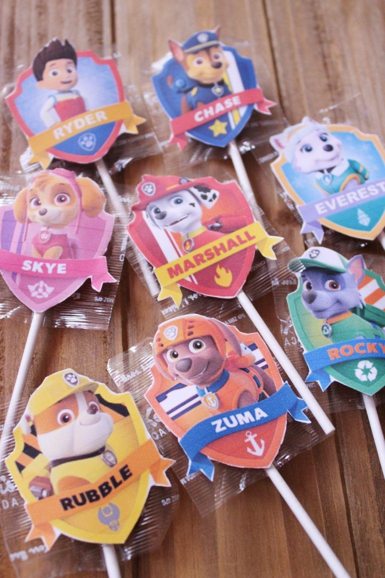 Paw Patrol Lollipop Labels + Free Printable - Paw patrol birthday party, Paw patrol birthday, Paw patrol birthday theme, Paw patrol party printables, Paw patrol party decorations, Paw patrol party games - I am back with another awesome lollipop label, this time, it is for my son  He loves Paw Patrol almost more than having a billion little cars  I don't blame