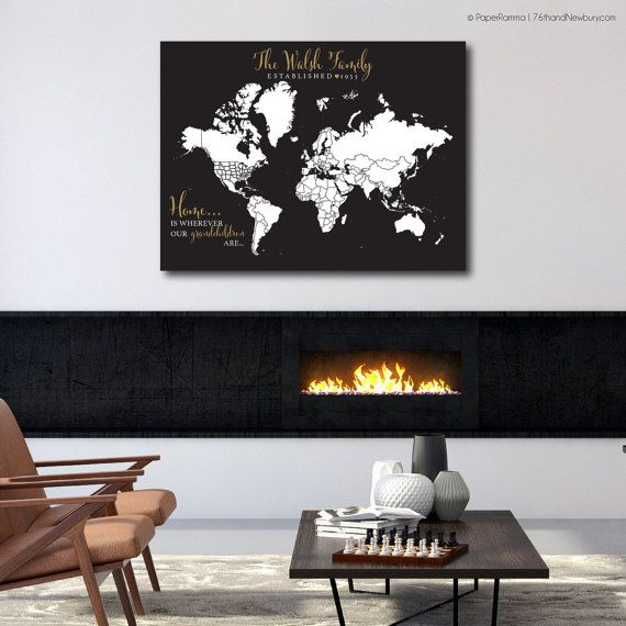 Personalized world map print woodland nursery decor interactive pushpin map baby boy gift art print or canvas