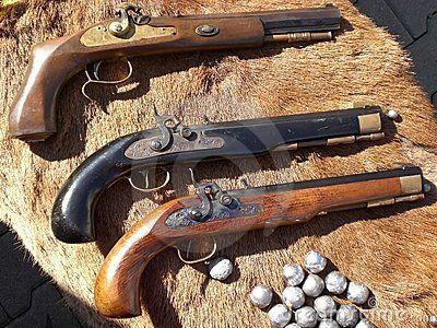 Antique Muzzle Loader Pistols Black Powder Guns Flint And Steel Antiques
