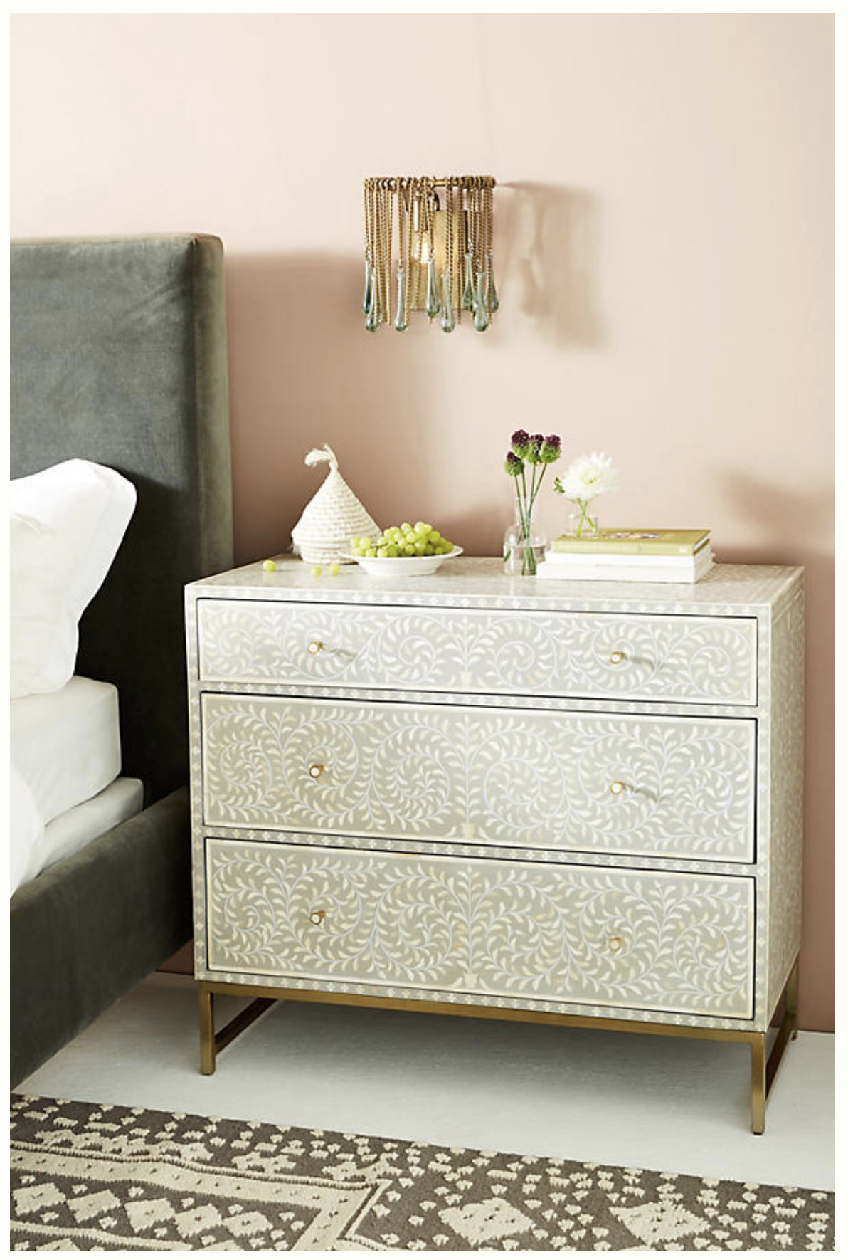 Scroll Vine Inlay ThreeDrawer Dresser Unique bedroom