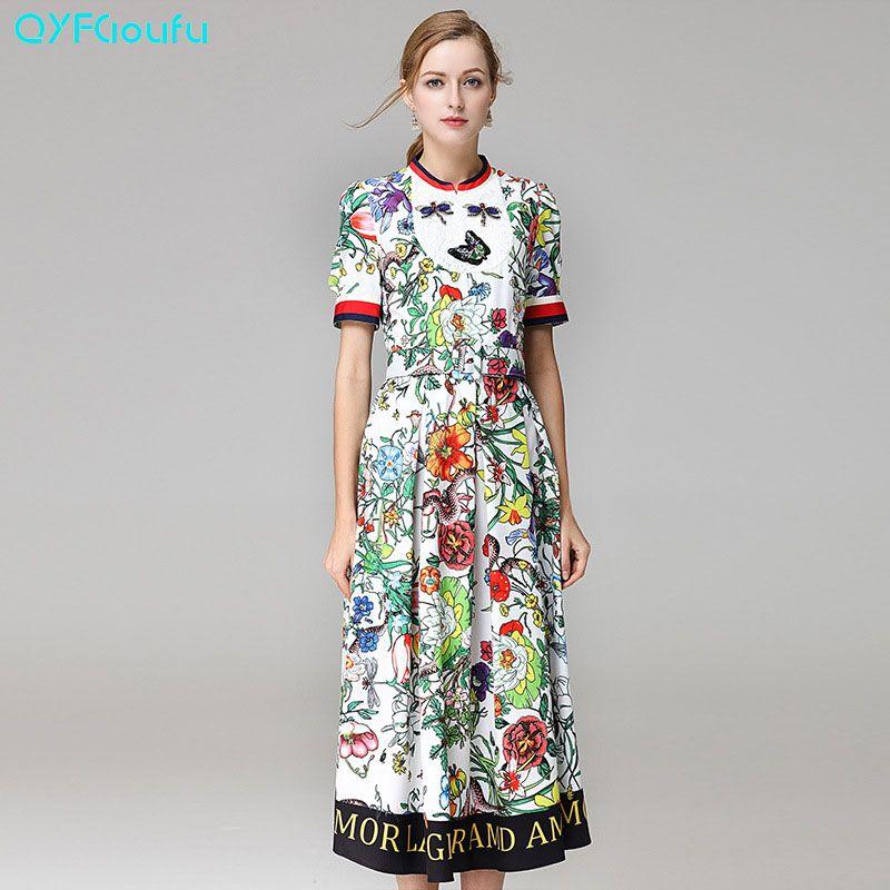 5afcd21b79a6f 2017 Runway Designer High Quality Dress Women's Elegant Cute Flower ...